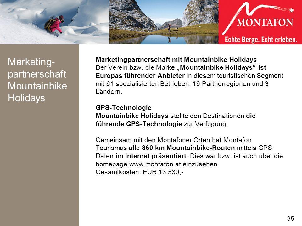 Marketing- partnerschaft Mountainbike Holidays Marketingpartnerschaft mit Mountainbike Holidays Der Verein bzw. die Marke Mountainbike Holidays ist Eu