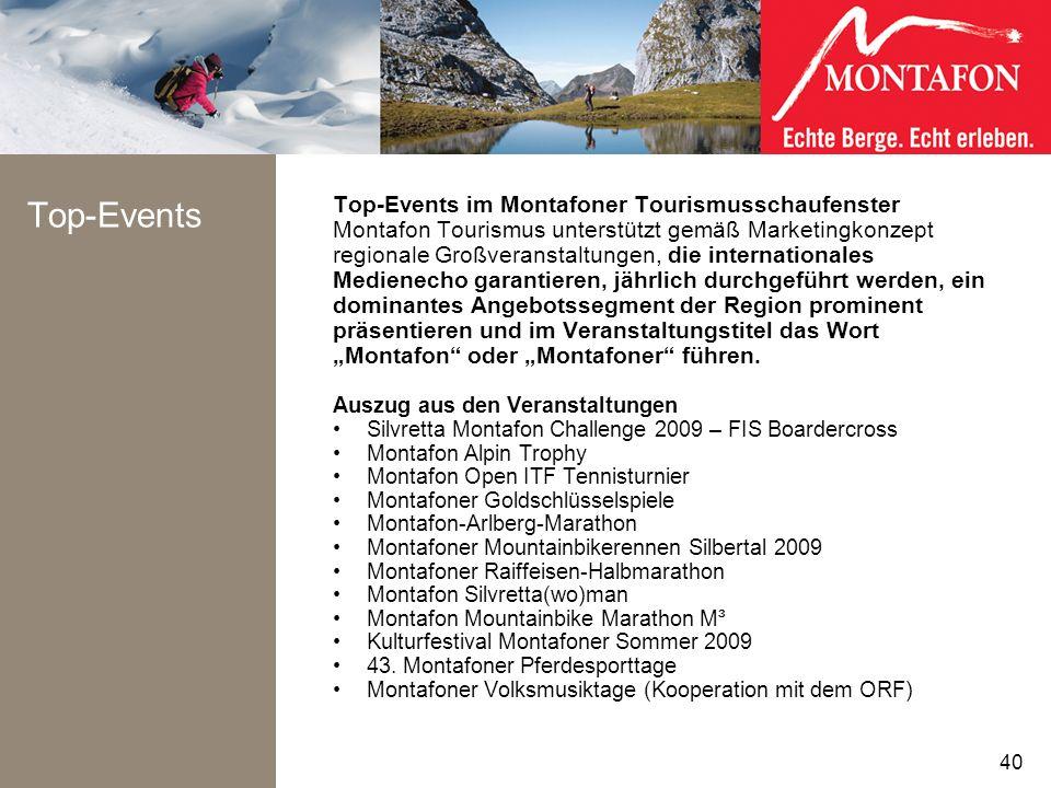 Top-Events Top-Events im Montafoner Tourismusschaufenster Montafon Tourismus unterstützt gemäß Marketingkonzept regionale Großveranstaltungen, die int