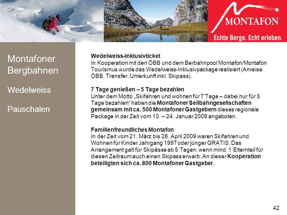Montafoner Bergbahnen Wedelweiss Pauschalen Wedelweiss-Inklusivticket In Kooperation mit den ÖBB und dem Berbahnpool Montafon/Montafon Tourismus wurde