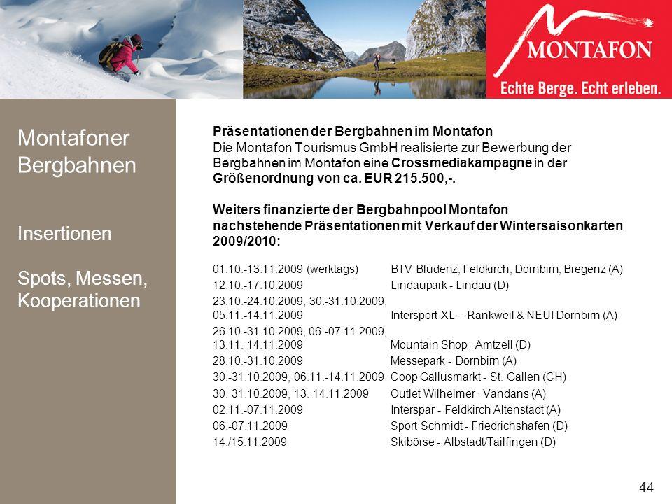 Montafoner Bergbahnen Insertionen Spots, Messen, Kooperationen Präsentationen der Bergbahnen im Montafon Die Montafon Tourismus GmbH realisierte zur B