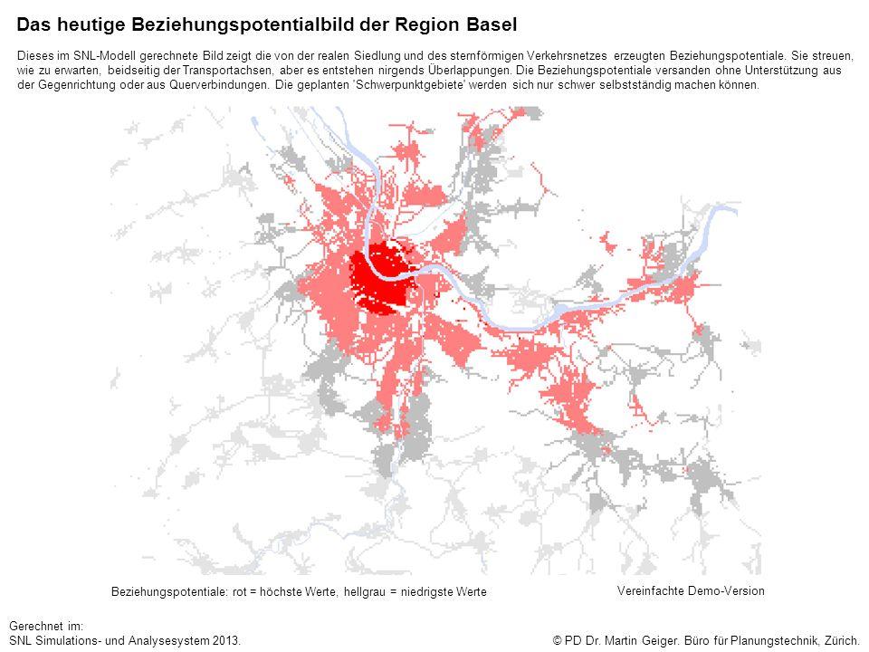 Das heutige Beziehungspotentialbild der Region Basel Beziehungspotentiale: rot = höchste Werte, hellgrau = niedrigste Werte © PD Dr. Martin Geiger. Bü