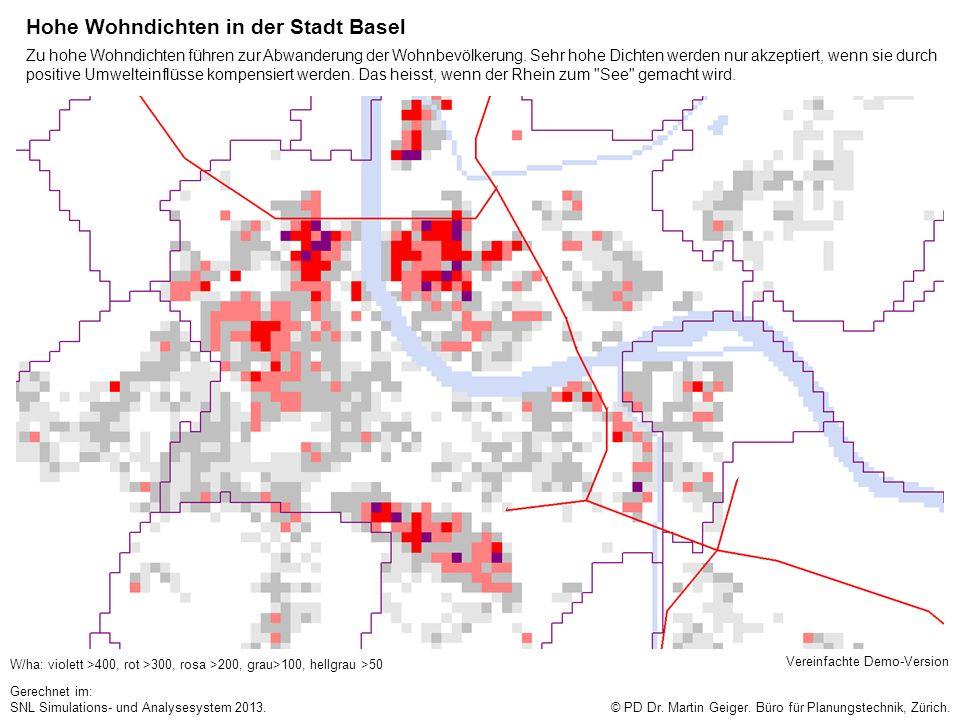 Hohe Wohndichten in der Stadt Basel W/ha: violett >400, rot >300, rosa >200, grau>100, hellgrau >50 © PD Dr. Martin Geiger. Büro für Planungstechnik,