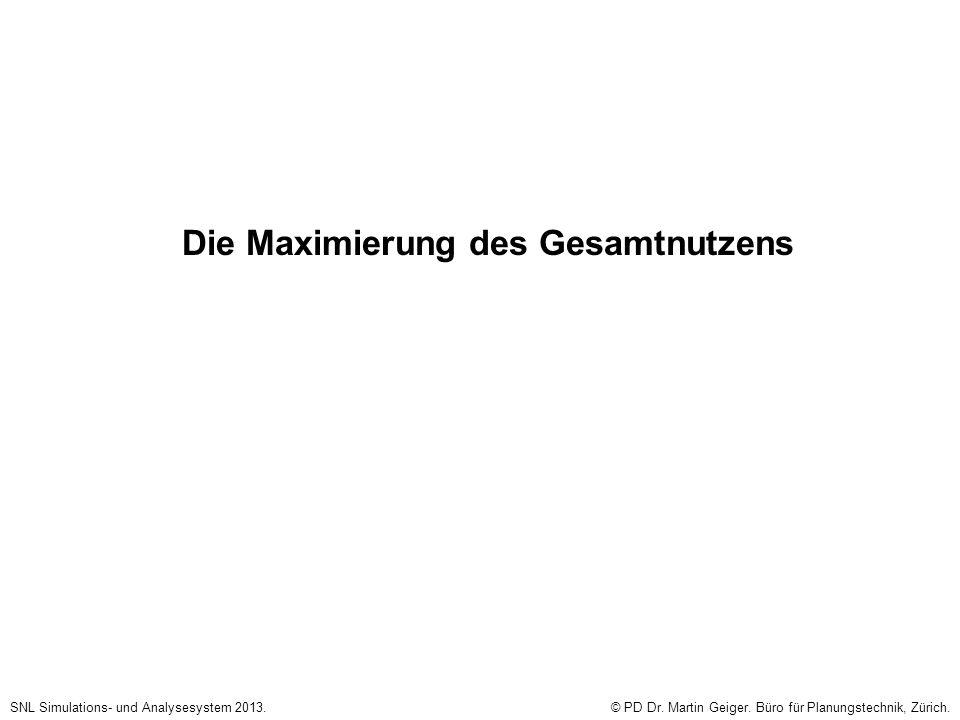 Die Maximierung des Gesamtnutzens SNL Simulations- und Analysesystem 2013.© PD Dr. Martin Geiger. Büro für Planungstechnik, Zürich.