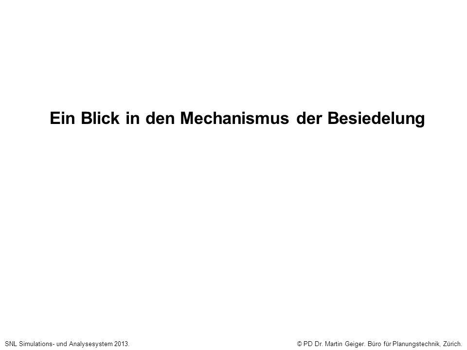 Ein Blick in den Mechanismus der Besiedelung SNL Simulations- und Analysesystem 2013.© PD Dr. Martin Geiger. Büro für Planungstechnik, Zürich.