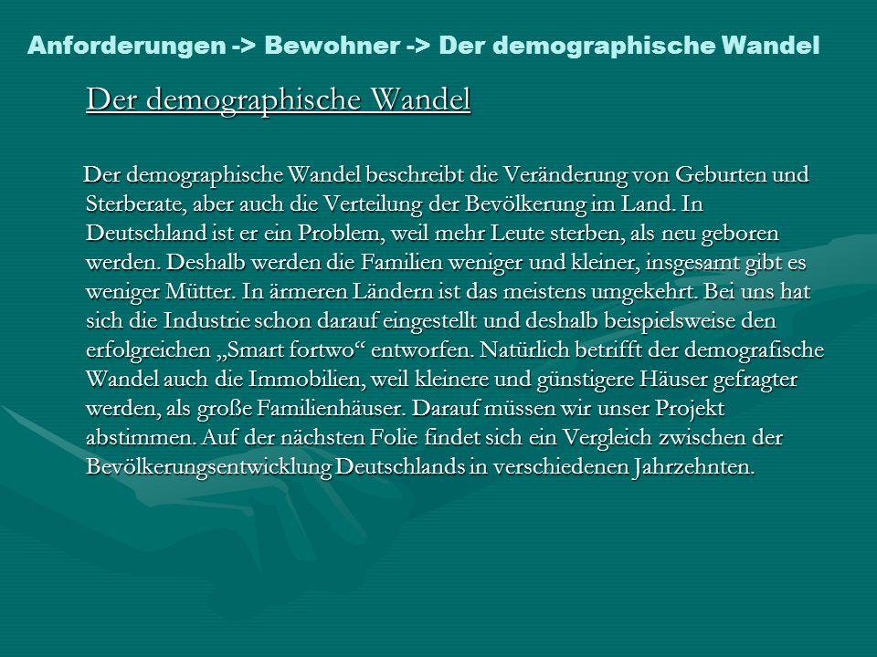 Anforderungen -> Bewohner -> Der demographische Wandel Der demographische Wandel Der demographische Wandel beschreibt die Veränderung von Geburten und