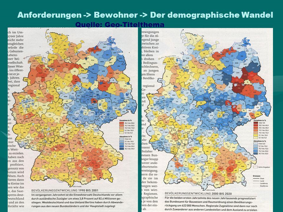 Anforderungen -> Bewohner -> Der demographische Wandel Quelle: Geo-Titelthema