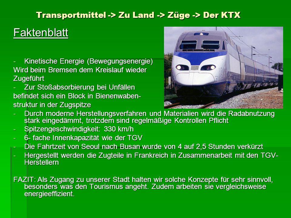 Transportmittel -> Zu Land -> Züge -> Der KTX Faktenblatt -Kinetische Energie (Bewegungsenergie) Wird beim Bremsen dem Kreislauf wieder Zugeführt -Zur