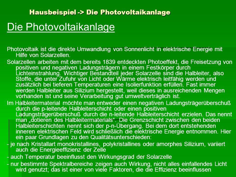 Hausbeispiel -> Die Photovoltaikanlage Die Photovoltaikanlage Photovoltaik ist die direkte Umwandlung von Sonnenlicht in elektrische Energie mit Hilfe