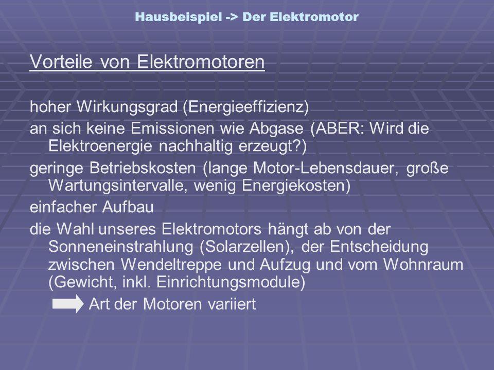 Hausbeispiel -> Der Elektromotor Vorteile von Elektromotoren hoher Wirkungsgrad (Energieeffizienz) an sich keine Emissionen wie Abgase (ABER: Wird die