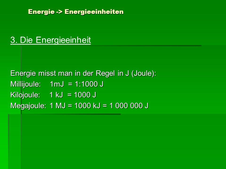 Energie -> Energieeinheiten 3. Die Energieeinheit Energie misst man in der Regel in J (Joule): Millijoule: 1mJ = 1:1000 J Kilojoule: 1 kJ = 1000 J Meg