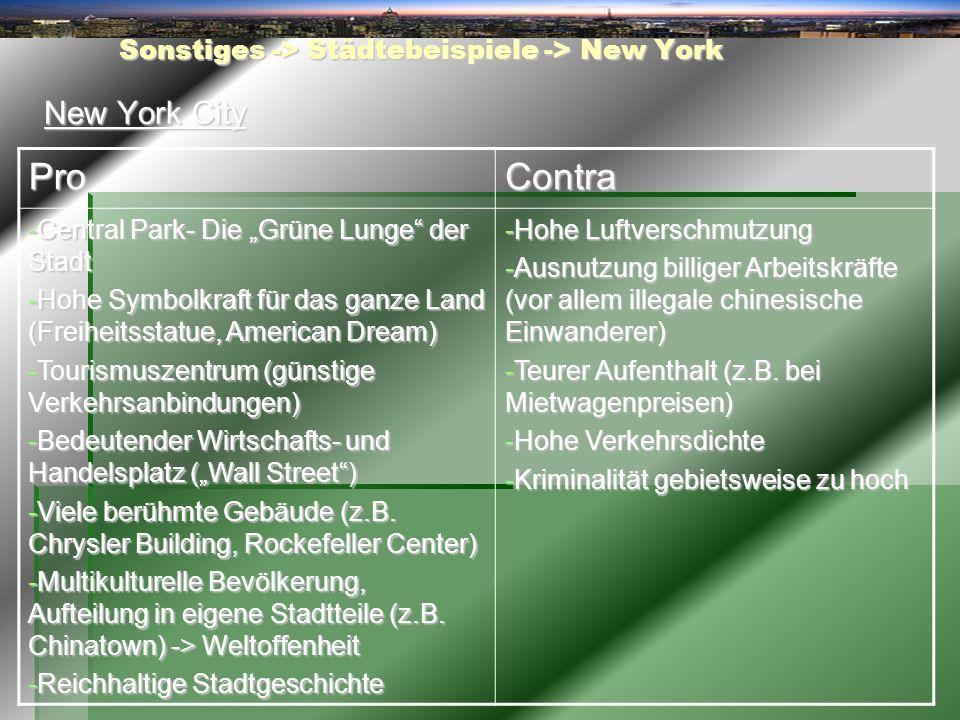 Sonstiges -> Städtebeispiele -> New York New York City ProContra -Central Park- Die Grüne Lunge der Stadt -Hohe Symbolkraft für das ganze Land (Freihe