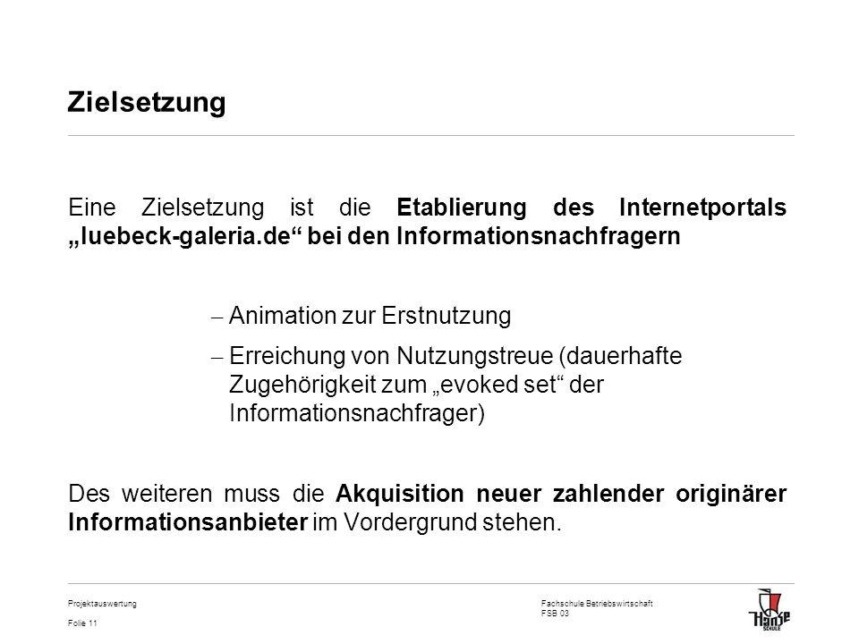 Fachschule Betriebswirtschaft FSB 03 Folie 11 Projektauswertung Zielsetzung Eine Zielsetzung ist die Etablierung des Internetportals luebeck-galeria.d