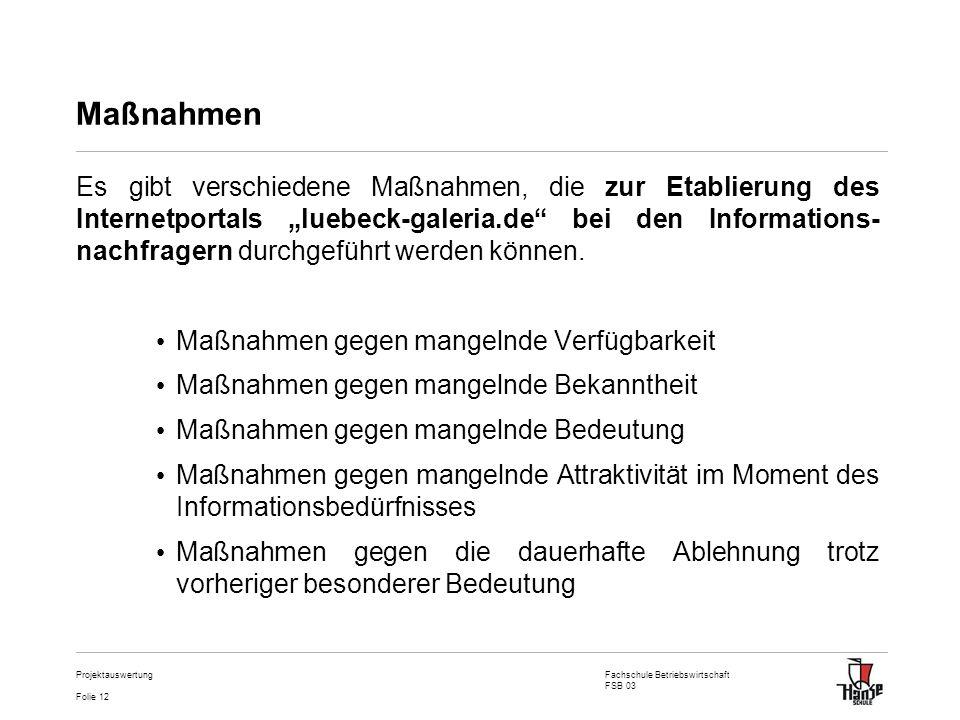 Fachschule Betriebswirtschaft FSB 03 Folie 12 Projektauswertung Maßnahmen Es gibt verschiedene Maßnahmen, die zur Etablierung des Internetportals lueb