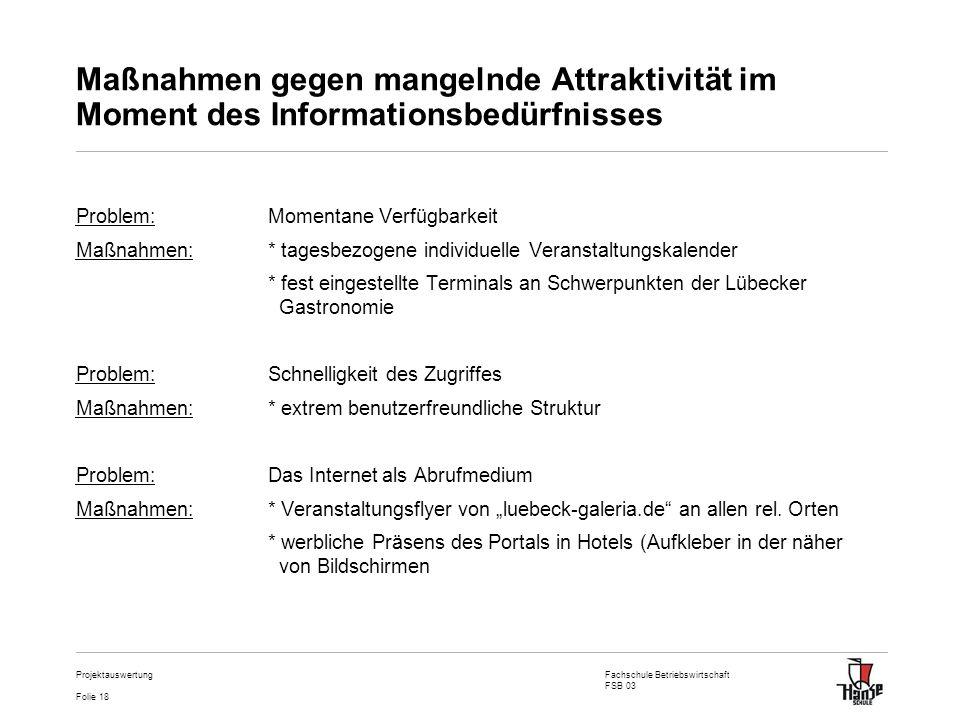 Fachschule Betriebswirtschaft FSB 03 Folie 18 Projektauswertung Maßnahmen gegen mangelnde Attraktivität im Moment des Informationsbedürfnisses Problem