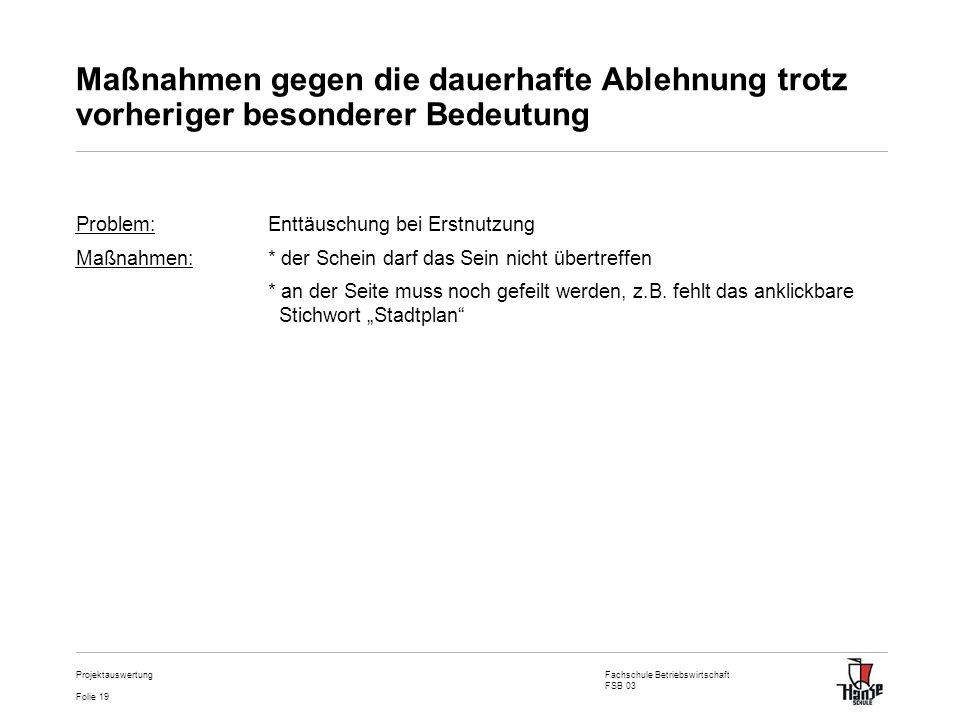 Fachschule Betriebswirtschaft FSB 03 Folie 19 Projektauswertung Maßnahmen gegen die dauerhafte Ablehnung trotz vorheriger besonderer Bedeutung Problem