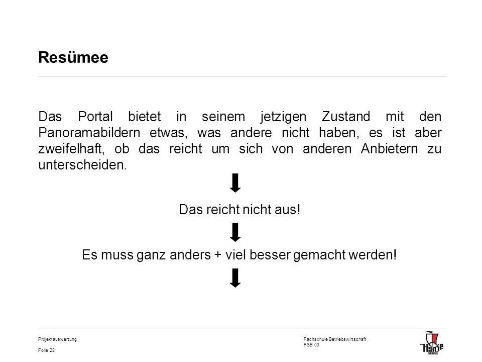 Fachschule Betriebswirtschaft FSB 03 Folie 23 Projektauswertung Resümee Das Portal bietet in seinem jetzigen Zustand mit den Panoramabildern etwas, wa