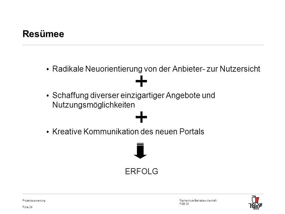 Fachschule Betriebswirtschaft FSB 03 Folie 24 Projektauswertung Resümee Radikale Neuorientierung von der Anbieter- zur Nutzersicht Schaffung diverser