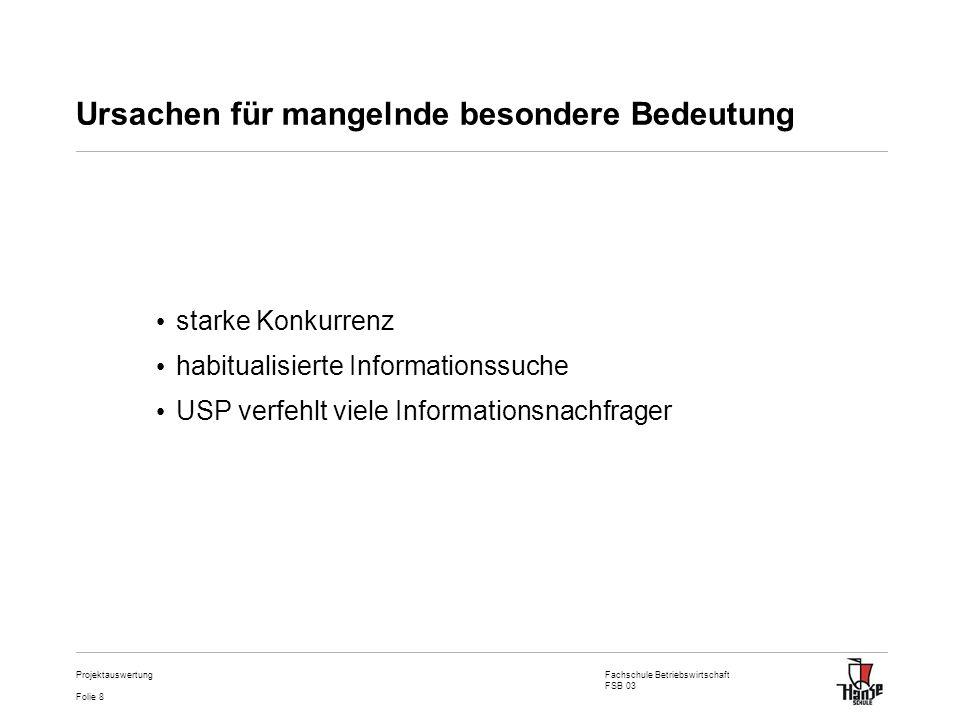 Fachschule Betriebswirtschaft FSB 03 Folie 8 Projektauswertung Ursachen für mangelnde besondere Bedeutung starke Konkurrenz habitualisierte Informatio
