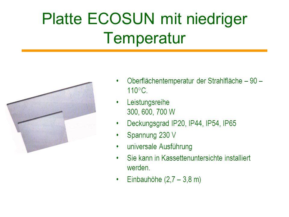 ECOSUN S - Technologie des Prozesses Heizelement (Aluminiumlamelle mit demeingepressten Heizstab) SILICATING – spezielle Oberfläche, die die Ausstrahl