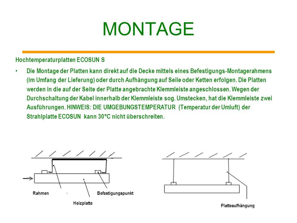 MONTAGE Platten ECOSUN mit niedriger Temperatur Die Platten sind mit einer Anschlussschnur von 1 m beendet. Die Montage der Platten kann direkt auf di