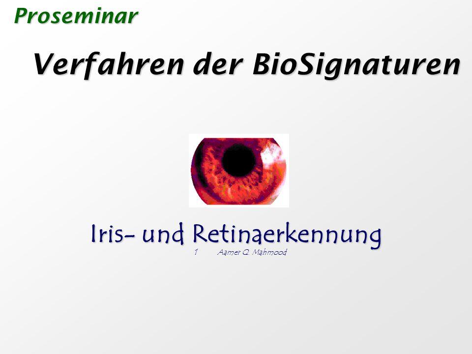 Retinascan Retinascan Ja, denn eine künstlich Retina besitzt nicht die Eigenschaften Irisscan Irisscan Im Prinzip machbar, z.B.: durch die Kopplung verschiedener Sicherheitsmethoden Gefahr durch Abfangen der Augeninformation Gefahr durch Abfangen der Augeninformation Die Augenidentität kann nicht gewechselt werden Verschlüsselung der Informationen.