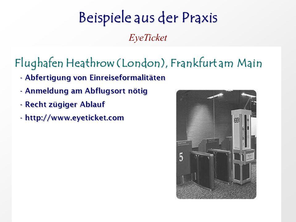 Beispiele aus der Praxis EyeTicket Flughafen Heathrow (London), Frankfurt am Main Flughafen Heathrow (London), Frankfurt am Main - Abfertigung von Ein