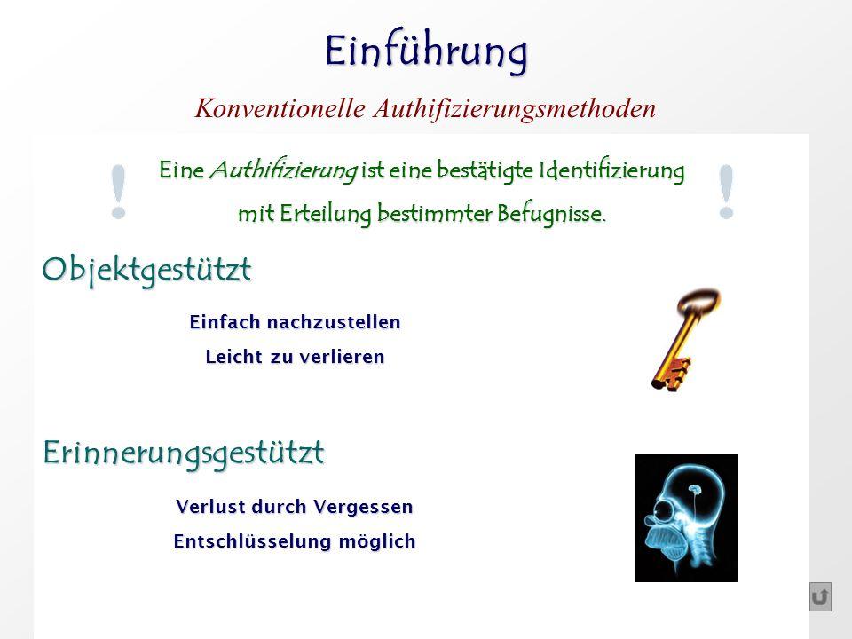 Einführung Konventionelle Authifizierungsmethoden Eine Authifizierung ist eine bestätigte Identifizierung mit Erteilung bestimmter Befugnisse. Objektg