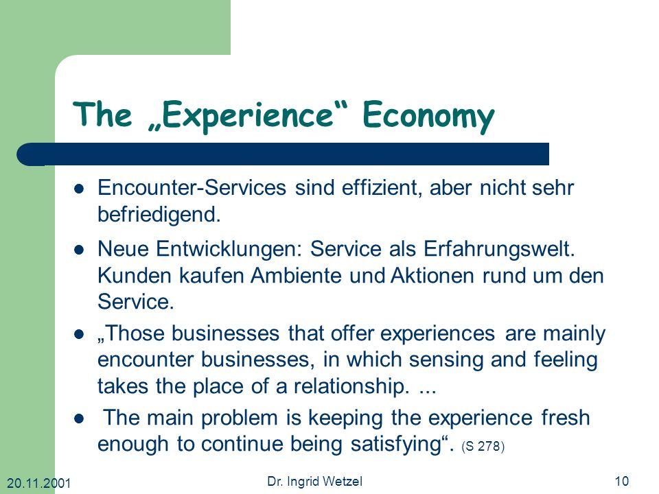 20.11.2001 Dr. Ingrid Wetzel10 The Experience Economy Encounter-Services sind effizient, aber nicht sehr befriedigend. Neue Entwicklungen: Service als