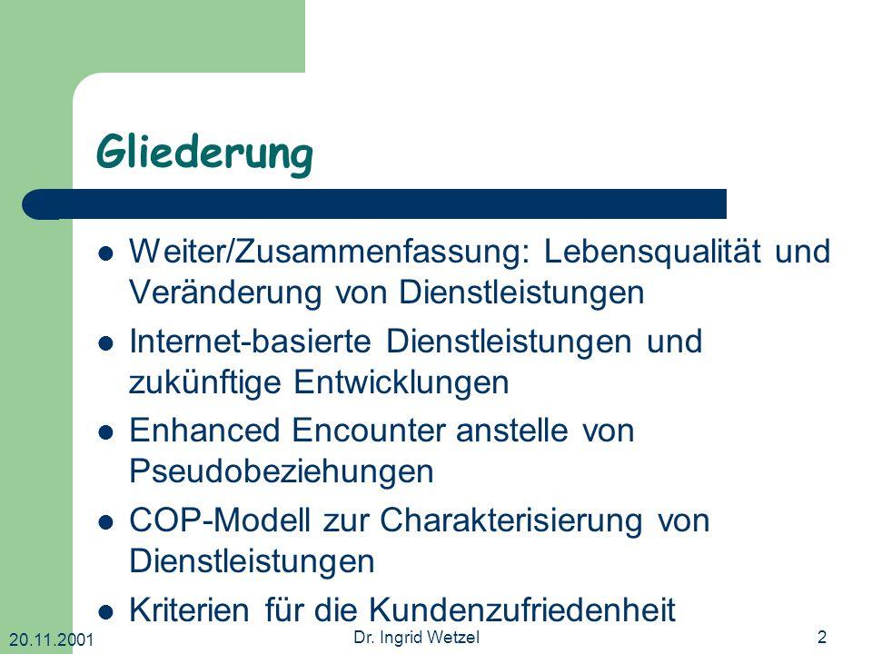 20.11.2001 Dr. Ingrid Wetzel2 Gliederung Weiter/Zusammenfassung: Lebensqualität und Veränderung von Dienstleistungen Internet-basierte Dienstleistunge