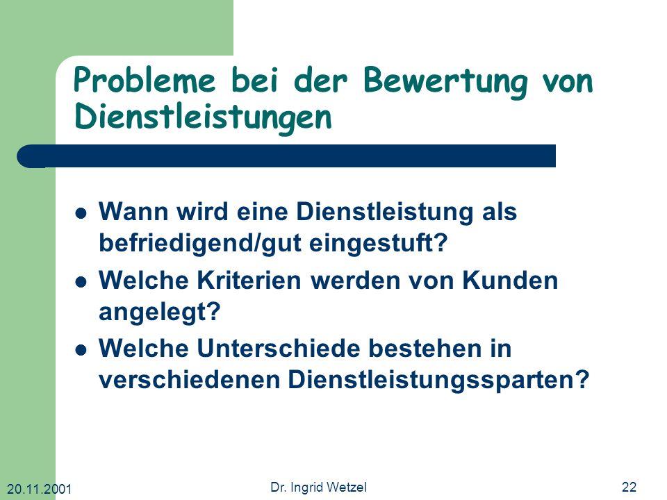 20.11.2001 Dr. Ingrid Wetzel22 Probleme bei der Bewertung von Dienstleistungen Wann wird eine Dienstleistung als befriedigend/gut eingestuft? Welche K