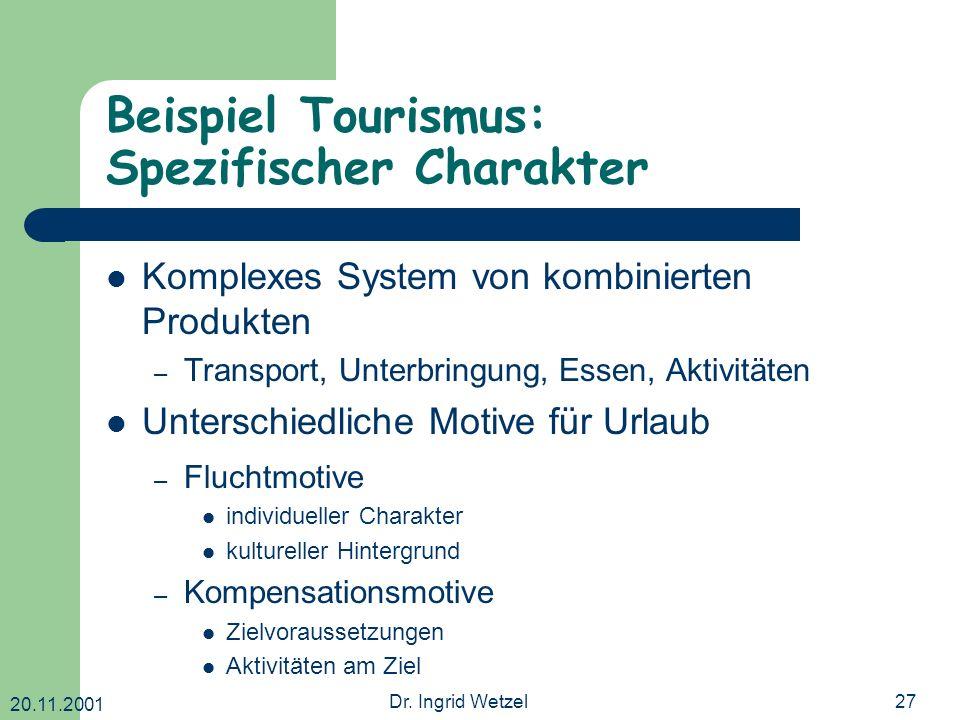 20.11.2001 Dr. Ingrid Wetzel27 Beispiel Tourismus: Spezifischer Charakter Komplexes System von kombinierten Produkten – Transport, Unterbringung, Esse