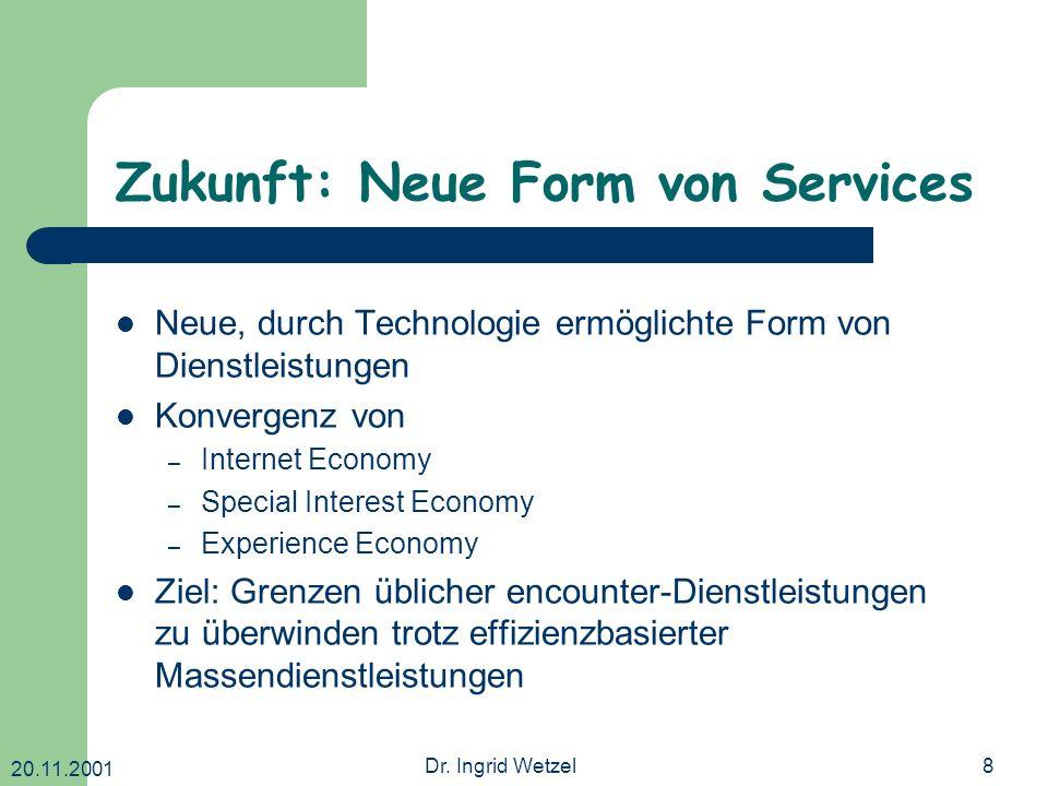 20.11.2001 Dr. Ingrid Wetzel8 Zukunft: Neue Form von Services Neue, durch Technologie ermöglichte Form von Dienstleistungen Konvergenz von – Internet