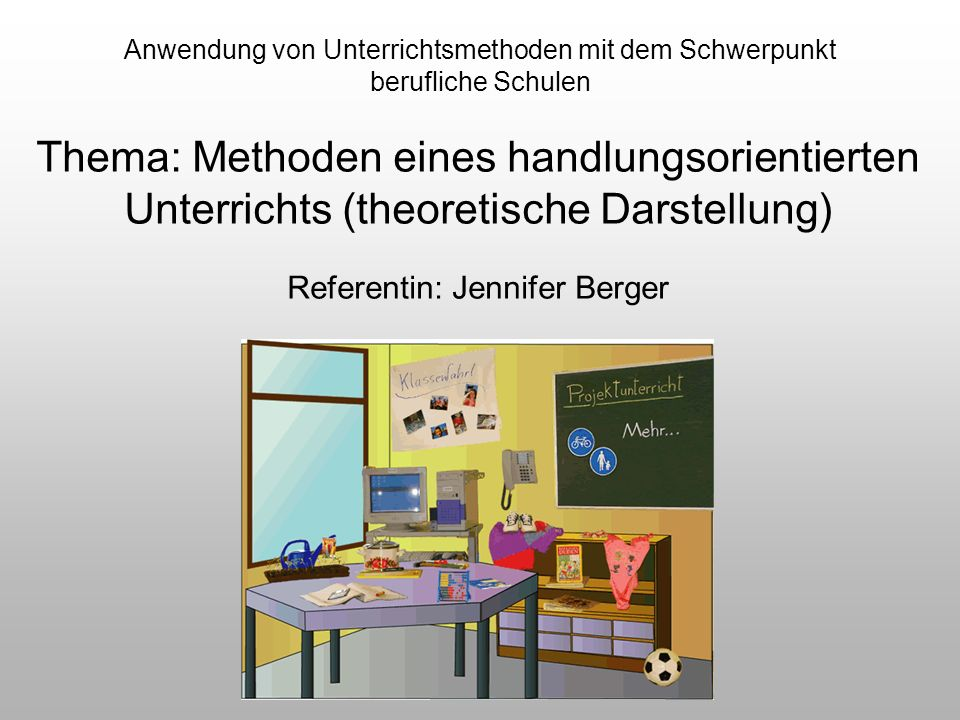 Anwendung von Unterrichtsmethoden mit dem Schwerpunkt berufliche Schulen Wichtigster Schritt Lehrer und Schüler müssen auf einen Nenner kommen Beispiele (Bönsch, 1990; Klippert, 2001): - Comic, Collagen...