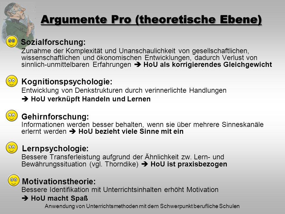 Anwendung von Unterrichtsmethoden mit dem Schwerpunkt berufliche Schulen Argumente Pro (theoretische Ebene) Zunahme der Komplexität und Unanschaulichk