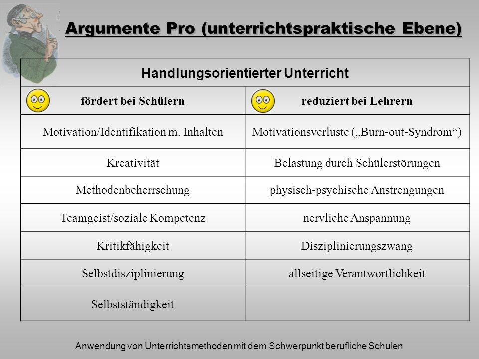 Anwendung von Unterrichtsmethoden mit dem Schwerpunkt berufliche Schulen Argumente Pro (unterrichtspraktische Ebene) Handlungsorientierter Unterricht