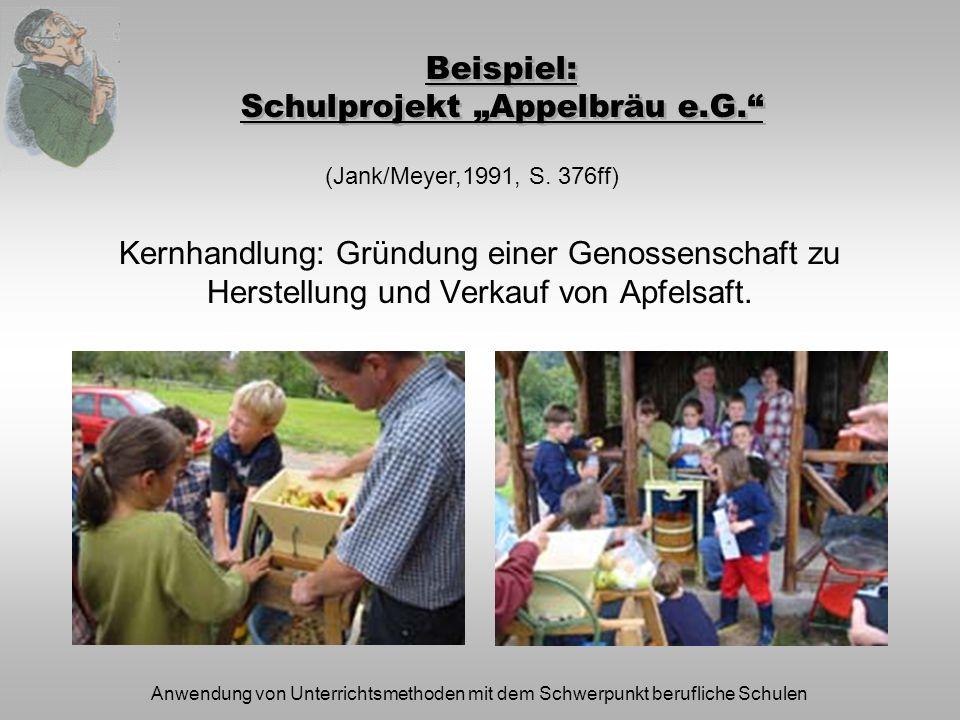 Anwendung von Unterrichtsmethoden mit dem Schwerpunkt berufliche Schulen Beispiel: Schulprojekt Appelbräu e.G. Kernhandlung: Gründung einer Genossensc