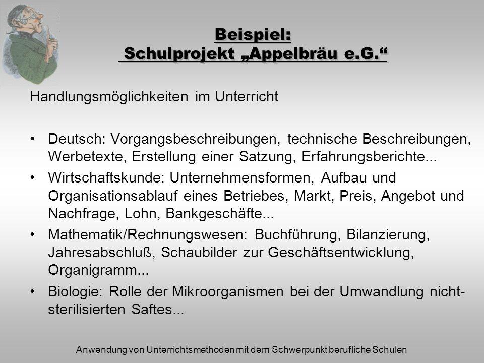 Anwendung von Unterrichtsmethoden mit dem Schwerpunkt berufliche Schulen Beispiel: Schulprojekt Appelbräu e.G. Handlungsmöglichkeiten im Unterricht De
