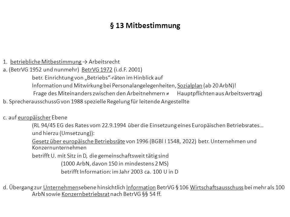 § 13 Mitbestimmung 2.Unternehmensmitbestimmung a.