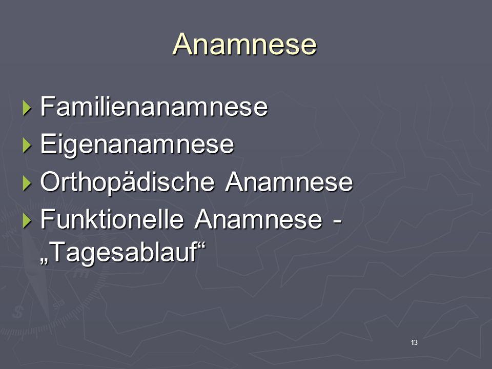 14 Orthopädische Anamnese Was.Was. Wo. Wo. Wann. Wann.