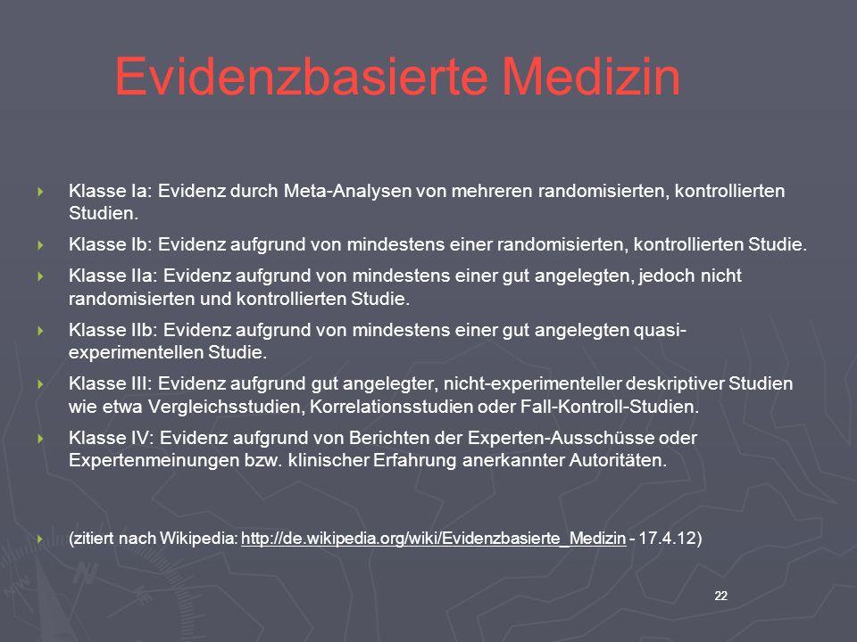 22 Evidenzbasierte Medizin Klasse Ia: Evidenz durch Meta-Analysen von mehreren randomisierten, kontrollierten Studien. Klasse Ib: Evidenz aufgrund von