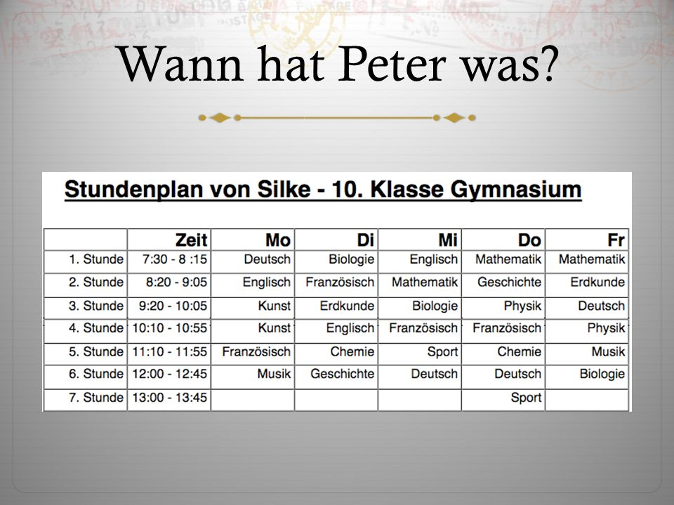 Wann hat Peter was?