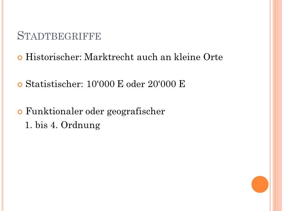 S TADTBEGRIFFE Historischer: Marktrecht auch an kleine Orte Statistischer: 10000 E oder 20000 E Funktionaler oder geografischer 1. bis 4. Ordnung
