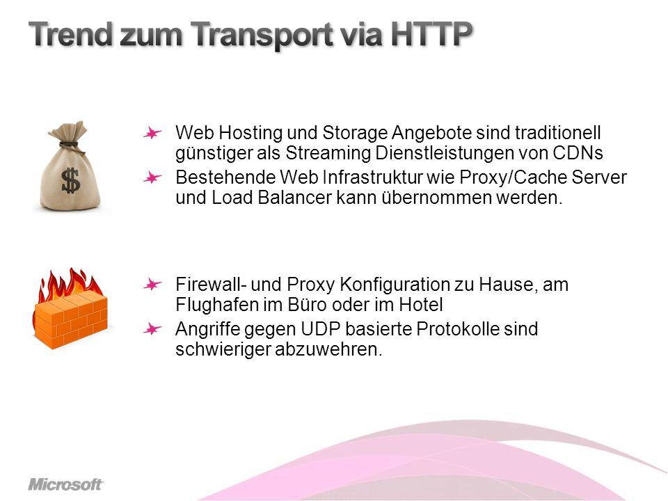 Web Hosting und Storage Angebote sind traditionell günstiger als Streaming Dienstleistungen von CDNs Bestehende Web Infrastruktur wie Proxy/Cache Server und Load Balancer kann übernommen werden.