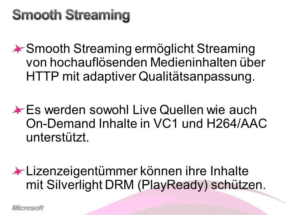 Smooth Streaming ermöglicht Streaming von hochauflösenden Medieninhalten über HTTP mit adaptiver Qualitätsanpassung.
