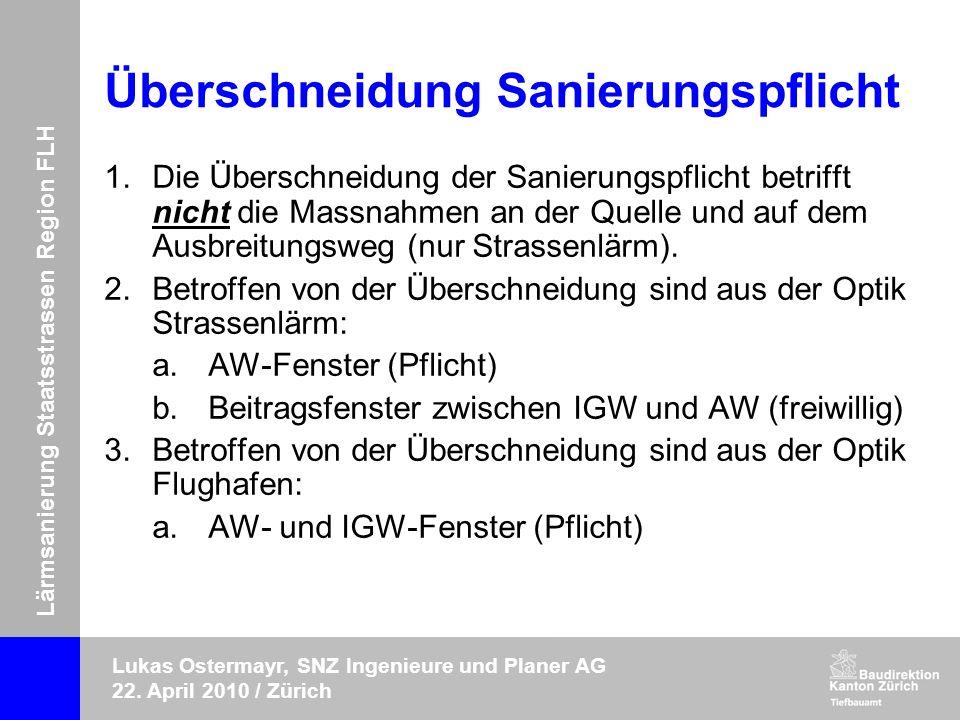 Lärmsanierung Staatsstrassen Region FLH Lukas Ostermayr, SNZ Ingenieure und Planer AG 22. April 2010 / Zürich Überschneidung Sanierungspflicht 1.Die Ü