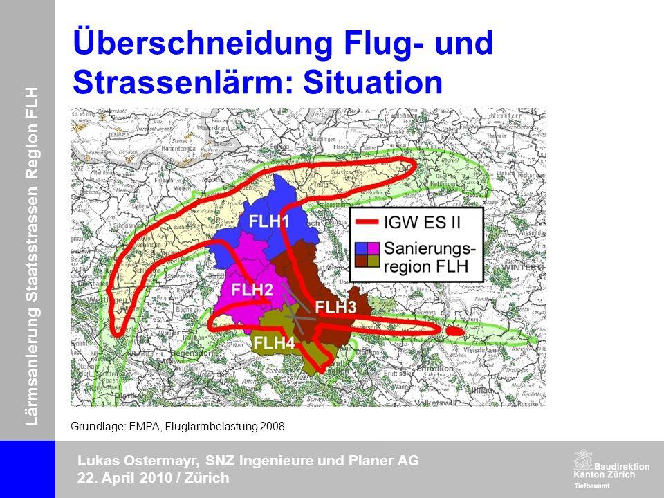 Lärmsanierung Staatsstrassen Region FLH Lukas Ostermayr, SNZ Ingenieure und Planer AG 22. April 2010 / Zürich Überschneidung Flug- und Strassenlärm: S