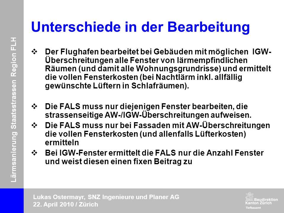 Lärmsanierung Staatsstrassen Region FLH Lukas Ostermayr, SNZ Ingenieure und Planer AG 22. April 2010 / Zürich Unterschiede in der Bearbeitung Der Flug