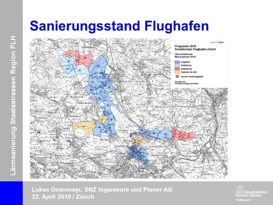 Lärmsanierung Staatsstrassen Region FLH Lukas Ostermayr, SNZ Ingenieure und Planer AG 22. April 2010 / Zürich Sanierungsstand Flughafen