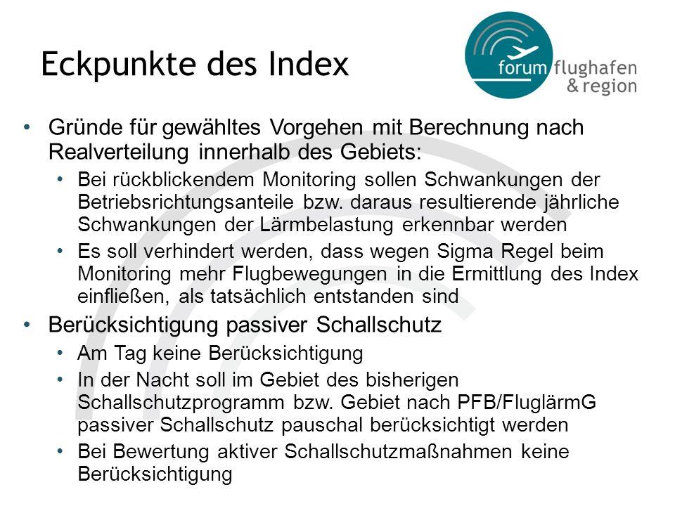 Eckpunkte des Index Gründe für gewähltes Vorgehen mit Berechnung nach Realverteilung innerhalb des Gebiets: Bei rückblickendem Monitoring sollen Schwa
