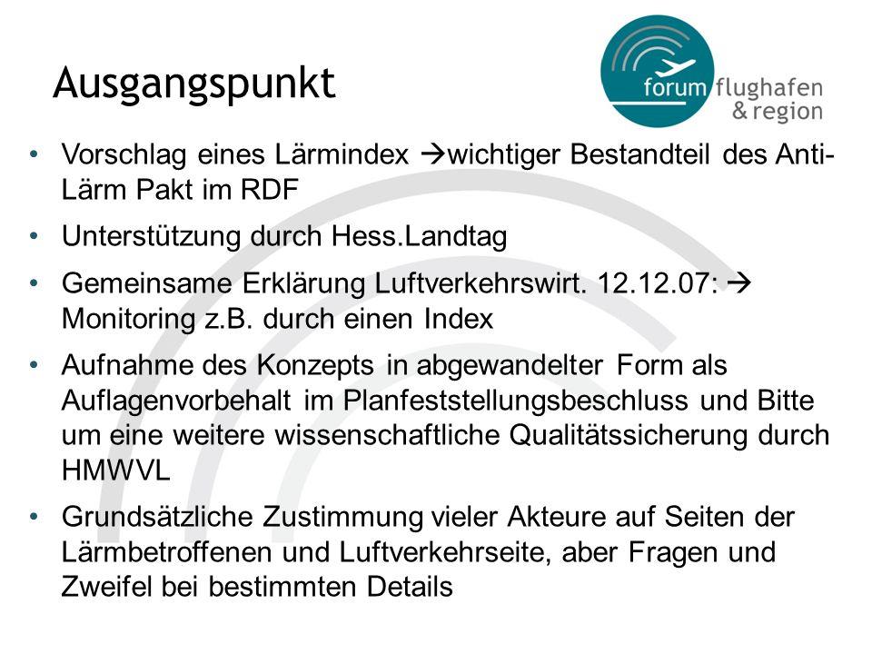 Ausgangspunkt Vorschlag eines Lärmindex wichtiger Bestandteil des Anti- Lärm Pakt im RDF Unterstützung durch Hess.Landtag Gemeinsame Erklärung Luftver